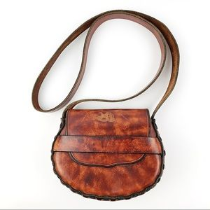 Vintage Hand Tooled Leather Crossbody Purse Duck